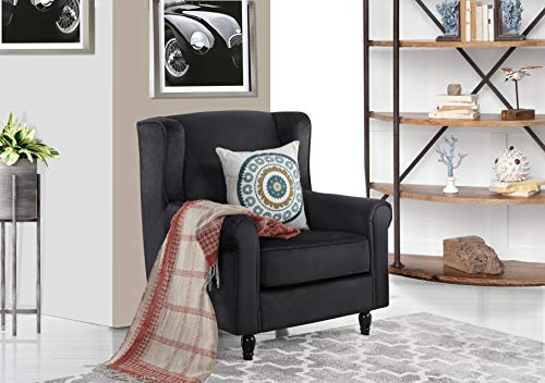 (Classic Scroll Arm Velvet Fabric Accent Chair, Living Room Armchair (Black))