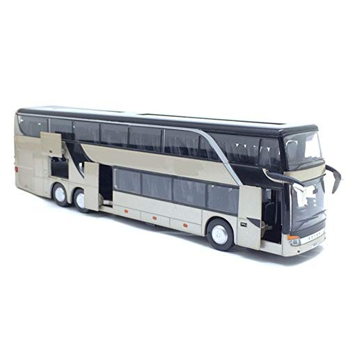 Dragon Honor 1:32 Alloy Pull Back Bus Model Double Sightseeing Bus,Flash Toy Vehicle (Grey)