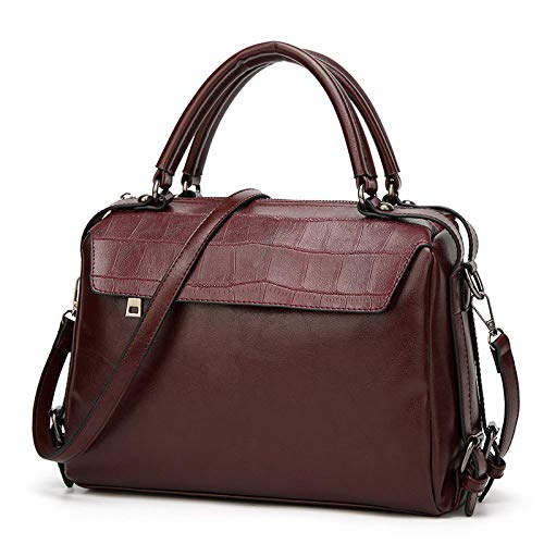 Borsa A Tracolla Boston Da Uomo Casual Alla Moda Darkbrown