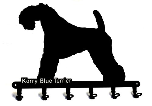 "Key holder - "" Kerry Blue Terrier "" - dog - beautiful key hook for wall - metal - 6 hooks - black"