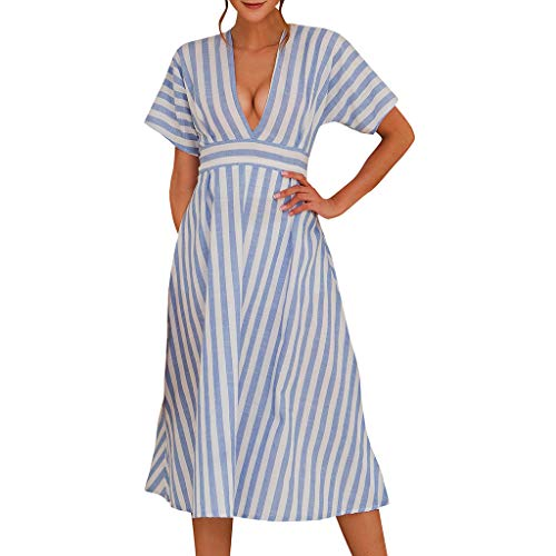 Price comparison product image OufenliWomen Short Sleeve Dresses Ladies Deep V Dress Summer Striped Print A-Line Swing Sundress for Evening Party (M,  Blue)