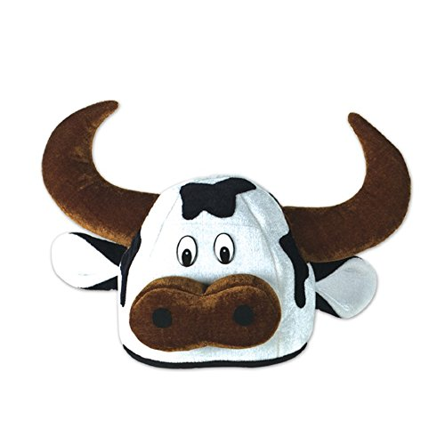 Club Pack of 12 Cute Counrty Western Plush White, Black and Brown Cow Head Costume Party Hats