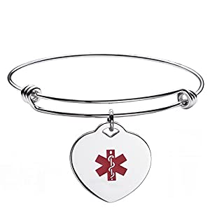 linnalove Fashion Stainless Steel Expandable Bangle Medical Alert id Bracelet for Women