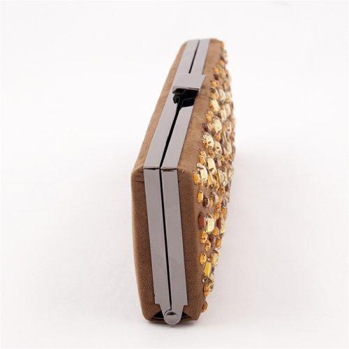 Borsa clutch, Lorene Tabacco, in eco pelle scamosciata con strass