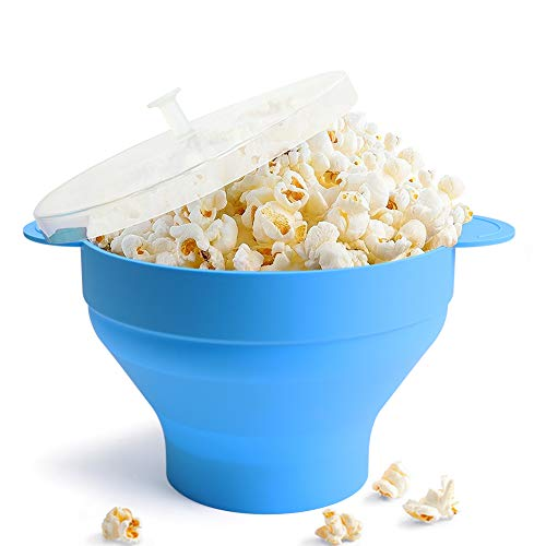 Microwave Popcorn Popper, HIPPIH 100% BPA Free Silicone Popcorn Maker with FDA approved, Collapsible Popcorn Bowl With Lid and Handles for Homemade Popcorn-Light Blue