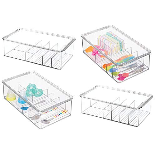 mDesign Stackable Plastic Storage Organizer Container for Kitchen Cabinets, Pantry, Countertops - Holds Kids, Child/Toddler Mealtime Sets, Small Accessories - 6 Sections - BPA Free, 4 Pack - Clear ()