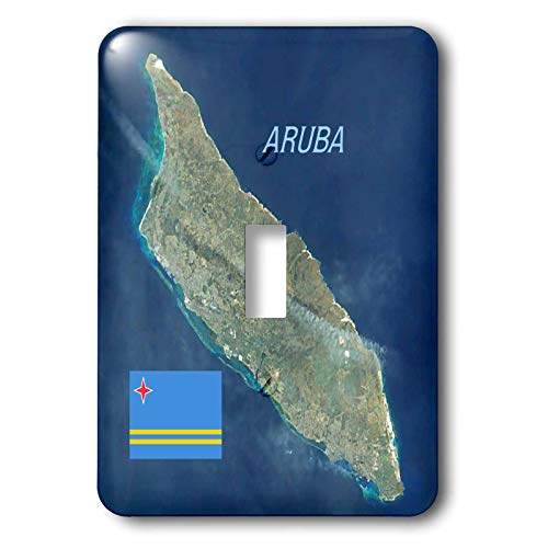 3dRose lens Art by Florene - Topo Maps And Flags - Image of Aerial Topo View With Flag Of Aruba - Light Switch Covers - single toggle switch (lsp_306862_1)