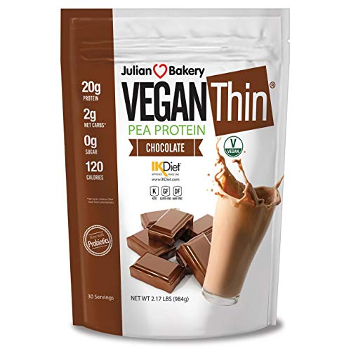 Vegan Thin Protein Powder (Pea Protein) (0g Sugar) (Chocolate) 2 lbs Vegan (30 Servings)
