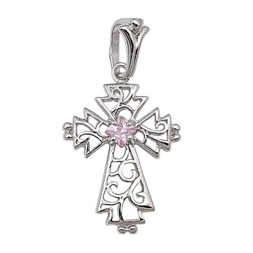 Joyara - Collier Femme Argent Fin 925/1000 Rose Oxyde de Zirconium Croix (Vient avec une chaîne de 45 CM)