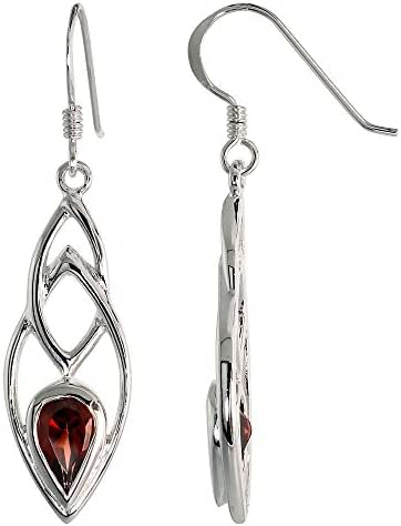 Sterling Silver Celtic Earrings with Natural Garnet 1 5/8 inch long