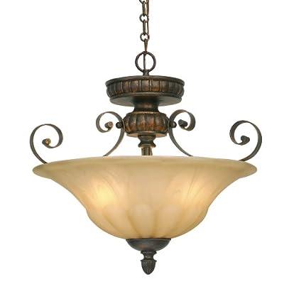 "Golden Lighting 7116-SF LC Three Light (Convertible) Semi-Flush Mount, 17"" W x 15.5"" H, Bronze"