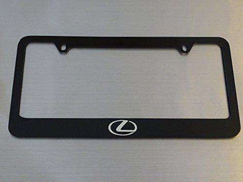 Lexus Logo license plate frame, glossy black metal, Brushed aluminum text