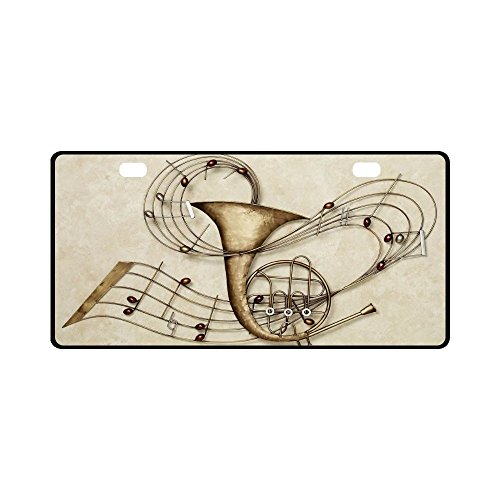 License Plate French Horn Pattern Metal Auto Car Tag 11.8