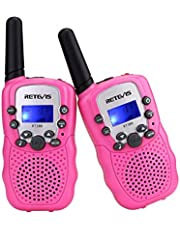 Retevis RT-388 Walkie Talkies for Kids 8 Channel LCD Display Flashlight VOX Kids Walkie Talkies (2 Pack, Pink)