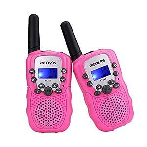 Retevis RT-388 Walkie Talkies for Kids 8 Channel LCD Display Flashlight VOX Kids Walkie Talkies (2 Pack, Pink)