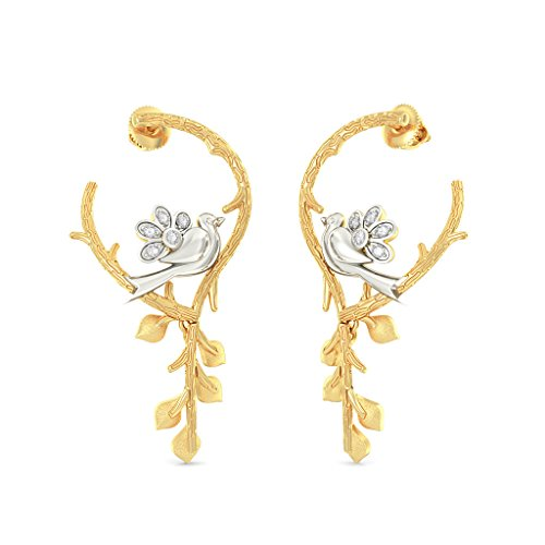 Or jaune 18 K 0.11 CT TW White-diamond (IJ | SI) Boucles d'oreilles créoles