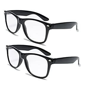 2 Pairs Deluxe Wayfarer Style Reading Glasses - Comfortable Stylish Simple Readers Rx Magnification (2 black pair, 1.25 x)