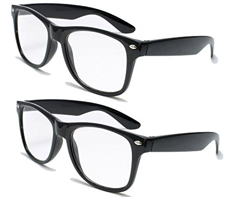 2 Pairs Deluxe Wayfarer Style Reading Glasses - Comfortable Stylish Simple Readers Rx Magnification (2 black pair, 1.5 x)