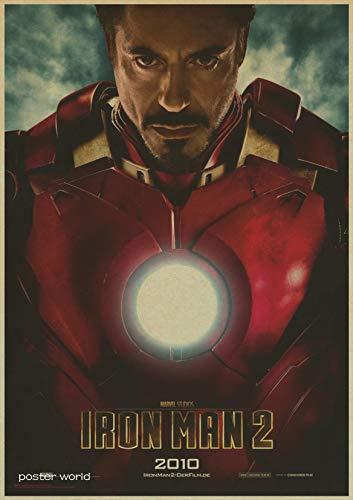 (1 piece vintage Hollywood Movie Poster Adornment Picture Iron Man Design Drawing Nostalgic Retro Kraft Paper Poster Decorative)