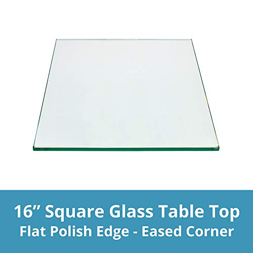 """TroySys - 1/4"""" Thick Square Glass Table Top (16"""" x 16"""") 