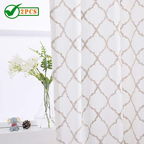 Panel Floral Tan - Twin Six Embroidered Curtains Geometric Lattice Design Faux Linen Rod Pocket with 7 Back Loops for Bedroom/Living Room, 2 Panels, 52 x 84 Inches,Ivory White/Tan Embroidery