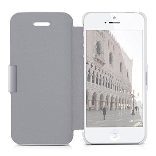 kwmobile Hülle für Apple iPhone SE / 5 / 5S - Bookstyle Case Handy Schutzhülle Kunststoff - Flipcover Klapphülle Weiß