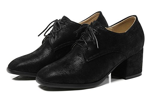 Aisun Womens Comfort Casual Lace Up Square Toe Wear To Work Office Mid Block Heel Pumps Shoes Black wrAYQ
