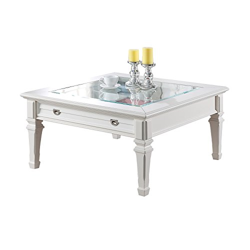 ACME Adalyn White Coffee Table with Display Glass Top
