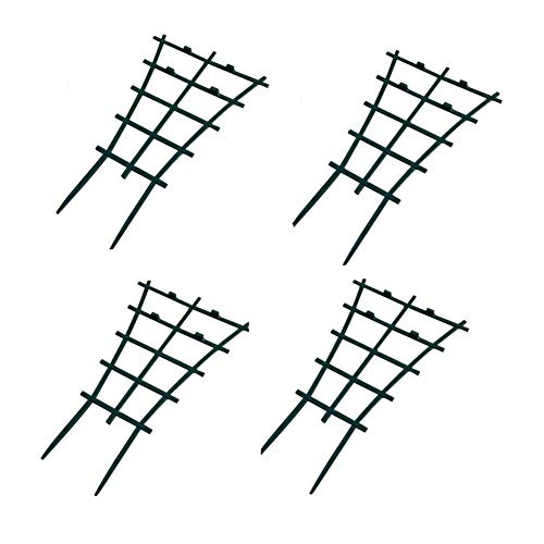 "Garden Trellis For Mini Climbing Plant Pot Support Morning Glory Trellis 5.9"" W x 9.8"" H 4 Pack Dark Green"