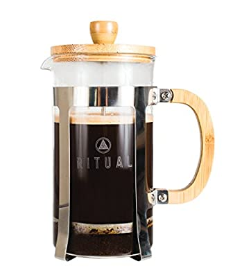 Ritual French Coffee Press, Bamboo Wood, Glass, and Stainless Steel, Coffee Maker with Bonus Filter 36oz/1000ml