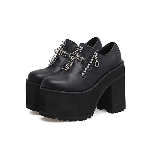 Noir Tête Occasionnels DANDANJIE Black Femmes Chaussures Hauts Talons Bottes 38EU Cheville Ronde Super Rivets wPvqwF