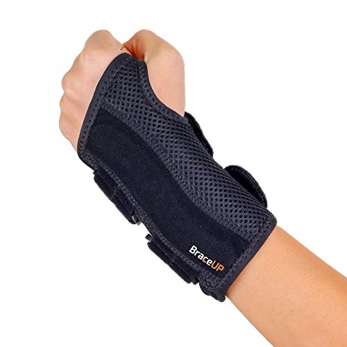 BraceUP Wrist Support Brace with Splints for Carpal Tunnel Arthritis - Left Wrist (S/M)