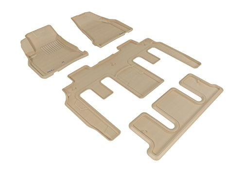 3D MAXpider Custom Fit Complete Floor Mat Set for Select GMC Acadia Models – Kagu Rubber (Tan)