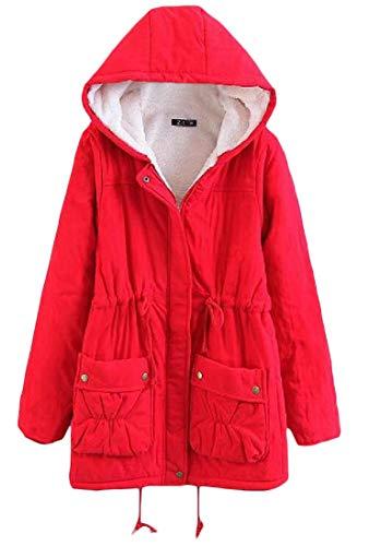 Faux Hoodie Lined Outerwear H Red Slim amp;E Fit Parkas Fur Coat Winter Womens Thicken Eg1pCwq