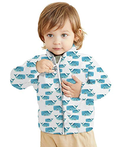 Youth Boy Polar Fleece Jacket Casual Long Sleeve Sherpa Coats for Baby Girls 24 Months Gift Nephew Thanksgiving(Blue Animal 2 Years Old)
