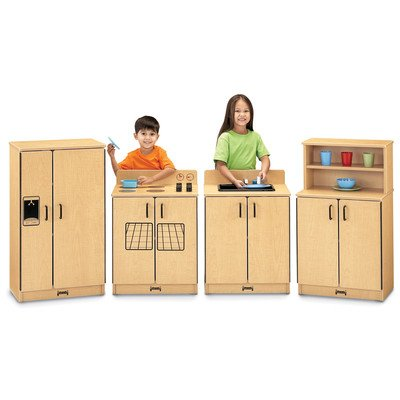 Jonti-Craft Home Indoor Kids Playschool Classroom Kindergarten ThriftyKYDZ Natural Birch Kitchen - 4 Piece Set - Natural Birch Kitchen Set