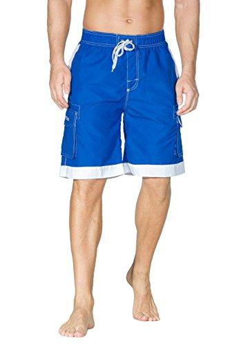 Nonwe Men's Board Shorts Summer Soild Elastic Sportswear Quick Dry Pockets Blue