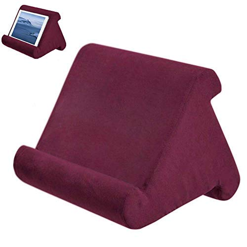 Foldable Tablet Soft Pillow Lap Holder Stand Book Rest Reading Support Cushion For iPad, Foldable Triangular, Used On Bed, Desk, Car, Sofa, Lap, Floor, Couch, Multi-Angle Soft Pillow Wine Red