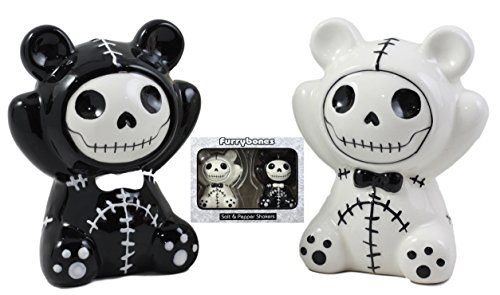 Ebros Furry Bones Pandie The Voodoo Panda Bears Salt And Pepper Shakers Ceramic Set Furrybones Collectible Skeleton Figurines Kitchen & Dining Centerpiece