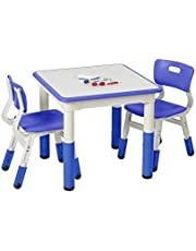 ECR4Kids Square Resin Dry-Erase Activity Table with 2 Chairs - Indoor Kids Plastic Adjustable Table and Chair Set for Classrooms, Daycares, Homes, Cornflower Blue (3-Piece Set)