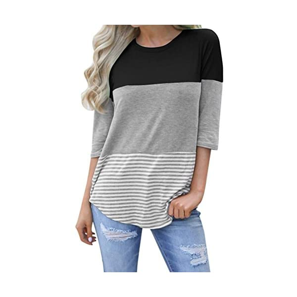 kigod Womens Casual 3/4 Sleeve Color Block T-Shirt Blouses Back Lace Striped Tops...