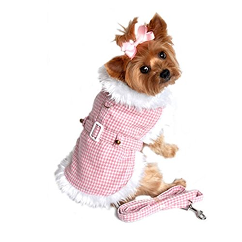 Doggie Design Pink Houndstooth/white Fur Harness Coat W/leash Size Medium (Chest 16-19, Neck 13-16, Weight 11-15lbs.)