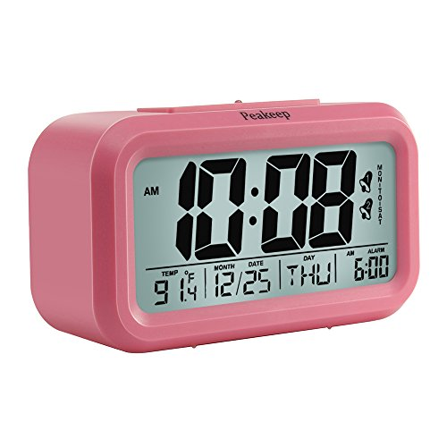 - Peakeep Digital Alarm Clock with 2 Alarms for Weekdays, Manual Snooze and Light, Battery Operated Only (Pink)