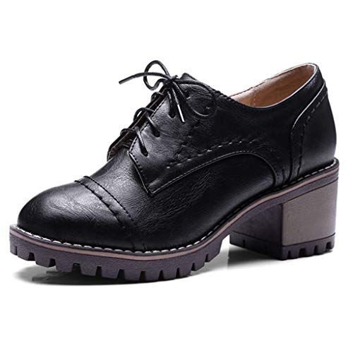 Women's Classic Chunky Heel Ankle Booties Round Toe Lace up Slip-On Handmade Platform Oxford Shoes Black