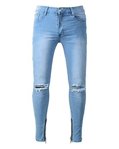 Vaqueros Denim Hombre Pantalones para Mengmiao Straight Slim Azul qvxw5HYIHT