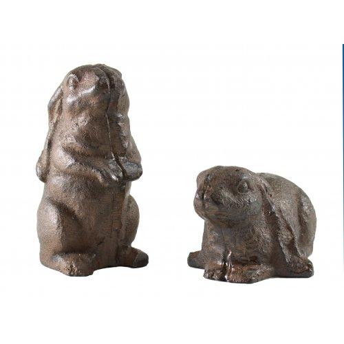Set of 2 Cast Iron Bunny Rabbit Rabbits Garden Statue Patio Yard Art Standing Sitting