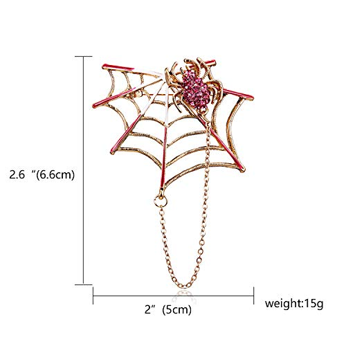 KathShop Rhinestone Black Pink Magnet Spider and Cobweb Brooch Women Men Suits Brooches Pin Size 5.44.6CM Halloween Decorate Accessories