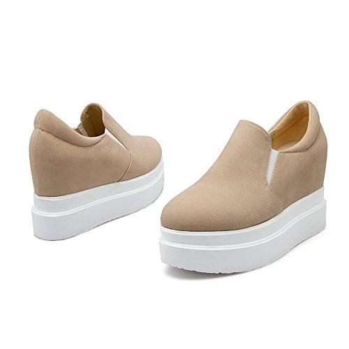 1to9 Signore Accresce Il Colore Interno Abbinato Al Tallone Di Fondo Tacco Xi Shi In Velluto Pumps-shoes Beige