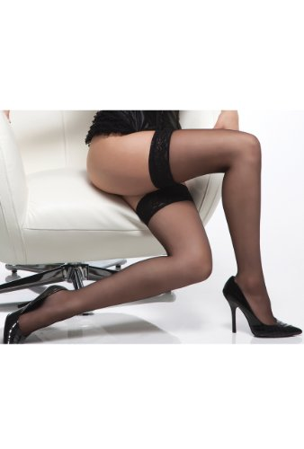 Coquette 1726 Sheer thigh high stockings with lace top.
