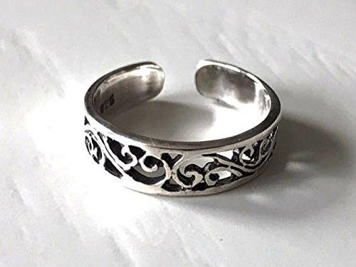Sterling Silver Adjustable Toe Ring Filigree Design Silver Filigree Midi Finder Ring Silver Knuckle Ring Silver adjustabe Mid Finger Ring